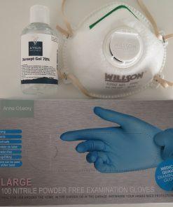 Beschermingsset met Mondmasker, Desinfecterende Handgel & Handschoenen